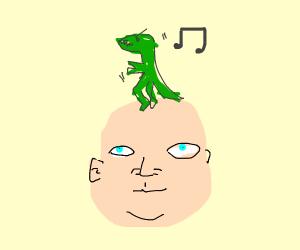 A dinosaur dancing on a bald dude's head
