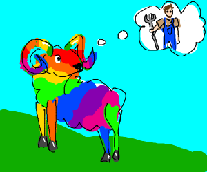 rainbow ram thinks of farmer