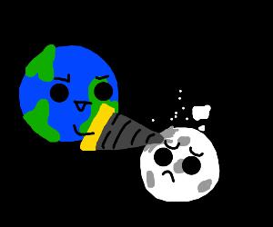 Earth drills moon