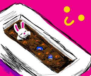 Bunny relaxes in a Pepsi bath