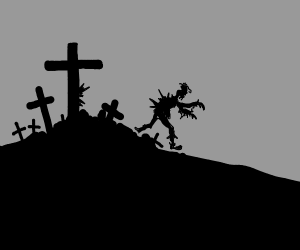 Zombie coming out of Jesus' cross