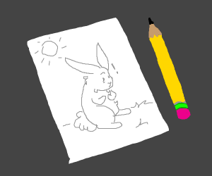 rabbit discover that he's a drawing