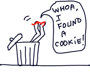 Woman eats cookie out of trashcan