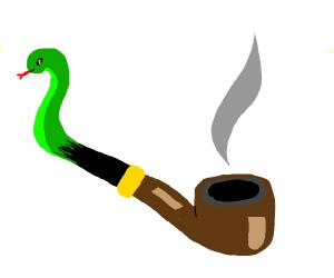 Man's smoking pipe turns into a snake!
