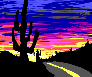 a road on a desert with a colorful sky