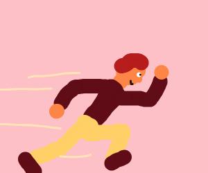 Red hair kid runs fast