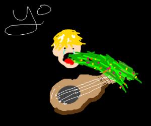 Justin Bieber puking while playing a guitar