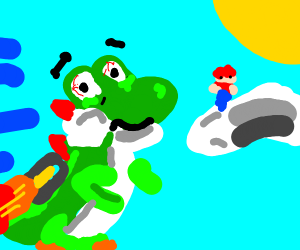 Yoshi flying with a jetpack