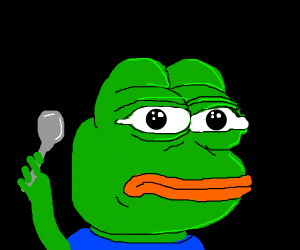 pepe with a spoon