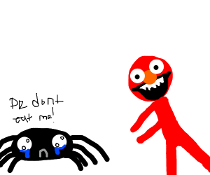 spider pleads with elmo to not eat it