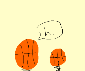 Old Basketball says hi to a younger one