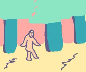 bigfoot walking through woods