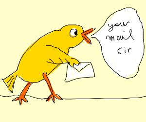 golden bird says 'your mail sir'