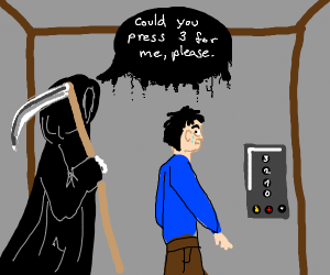 Death taking the elevator