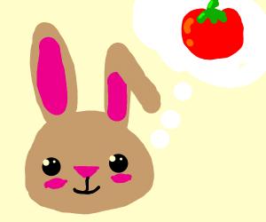 Rabbit thinking of a tomato