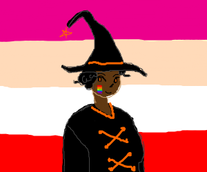 Witch with gay and lesbian colors.