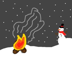 Bonfire on snowy day