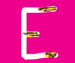 The letter E with poop smeared on it