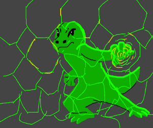 Lizard with a green forcefield