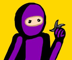 Purple ninja is going to throw ninja star