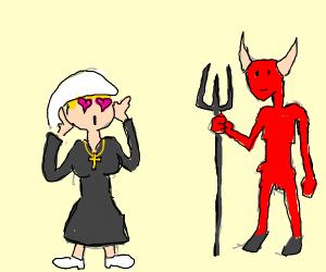 A nun falls in love with a devil.