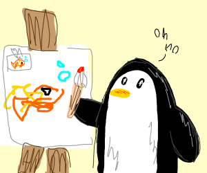 penguin can't draw