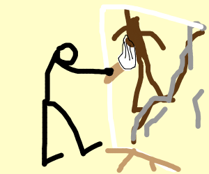Person painting a guy climbing a mountain