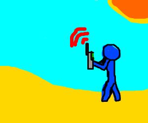 Blue man roaming in a desert