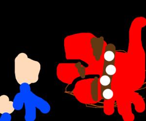 Two people in the Tartar meet Cerberus