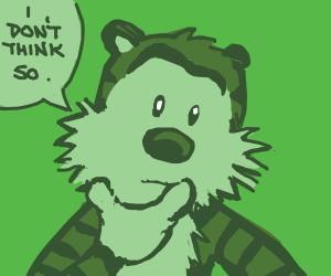 Hobbes isn't sure of this green filter