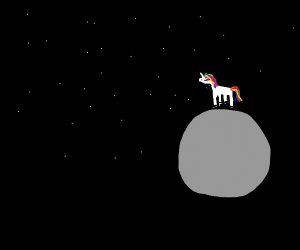 Unicorn on a moon in space