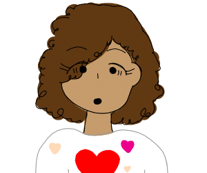 surprised girl with heart top