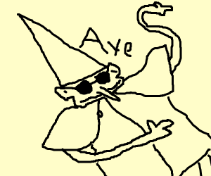 A cool wizard with sunglasses on.