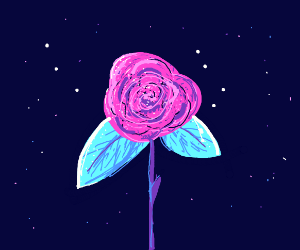 pink rose with neon blue leaves
