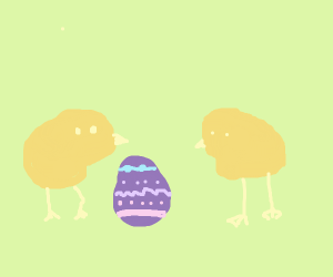 Baby chicks with egg