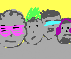 Mount Rushmore but neon punk