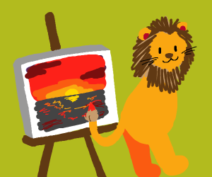 2-legged lion paints with its tail
