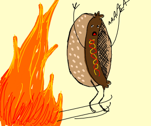 hot-dog gotta go fast away from the fire
