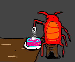 Cockroach pouring salt (or sugar?) on a cake?