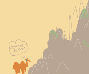 Camel about to climb a mountain.