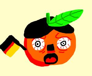 orange with hitler mustache & hair