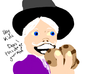 A wizard that is bribing kids with cookies