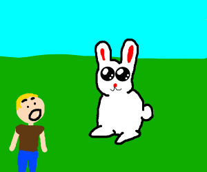 Man is suprised by giant rabbit