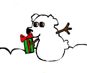 Snowball dog with a gift