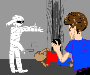 Man gets attacked by a mummy and an Afro dude