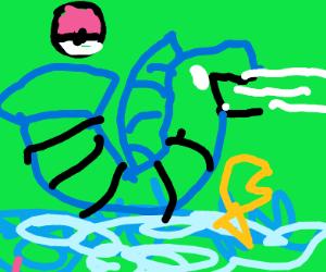 Gyarados (pokemon) in the ocean
