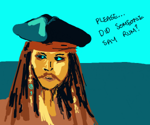 jack sparrow as a beggar asking for rum