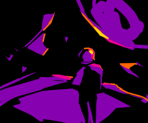 Lost astronaut in a purple planet