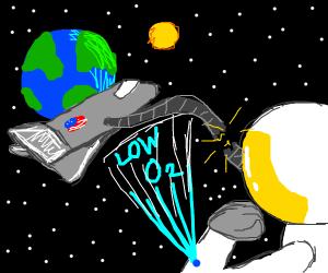 untethered spaceman lacks oxygen