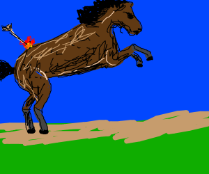 horse getting shot by a fire arrow